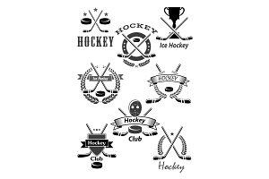 Hockey sport awards emblems or vector icons