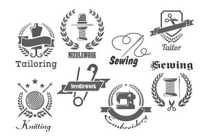 Sewing, embroidery and tailoring vector icons