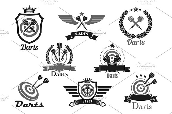 Darts Sport Club Awards Emblems Or Vector Icons
