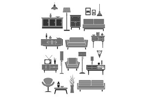 Home furniture and vector interior items