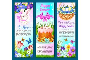 Easter paschal cake, eggs, flowers vector banners