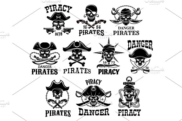 Pirate Or Jolly Roger Vector Icons Set