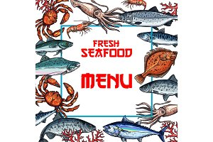Seafood menu card or poster vector template