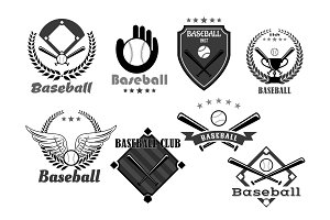 Baseball club vector icons or championship symbols