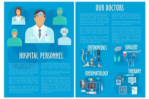 Medical doctors hospital personnel vector poster