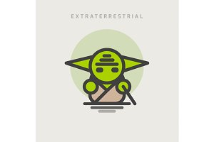 little green extraterrestrial with ears logo icon