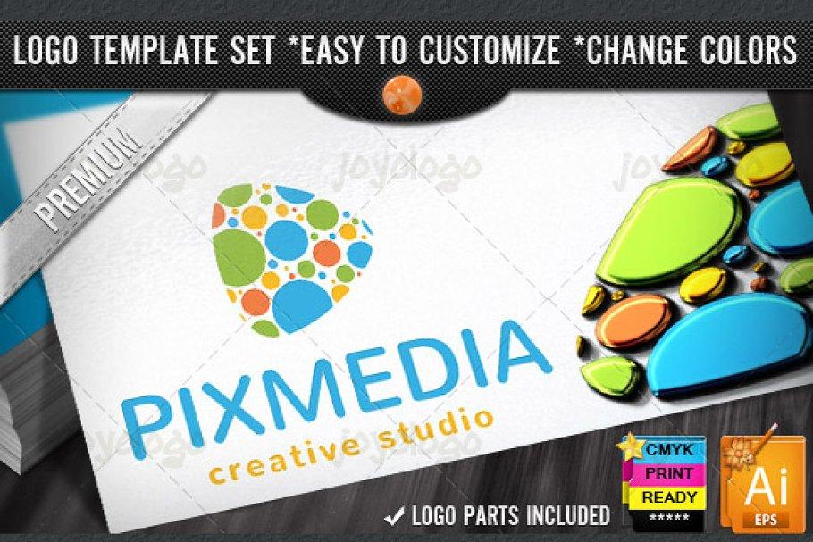 Pixel Dots Creative Media Play Logo