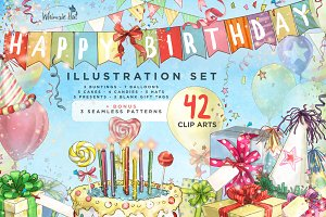 Birthday illustration set