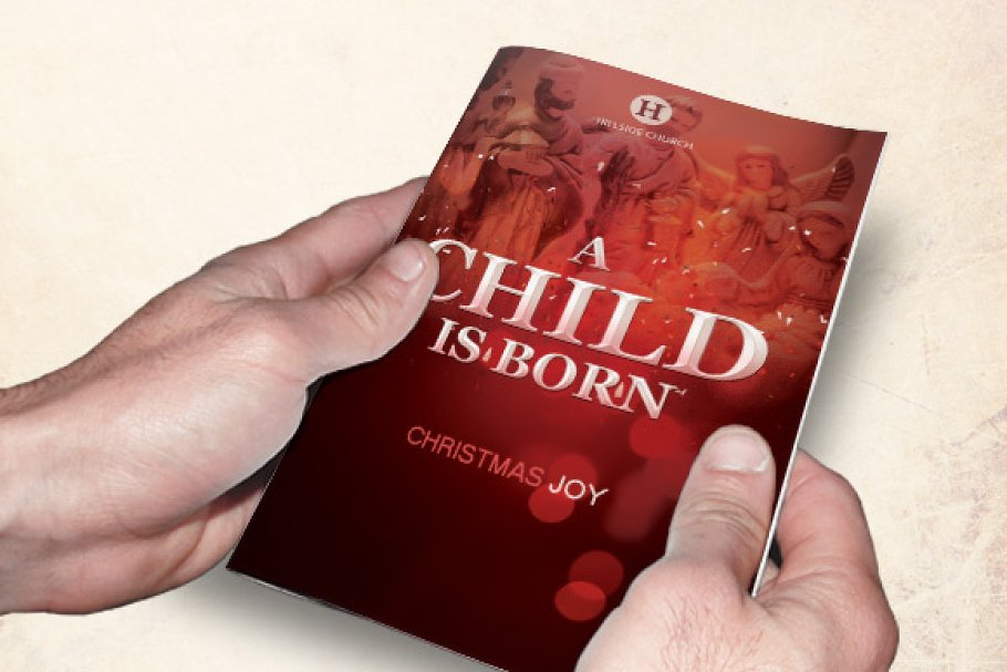A Child is Born Church Bulletin in Brochure Templates - product preview 8