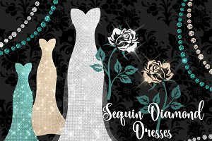 Sequin Diamond Dresses Clipart
