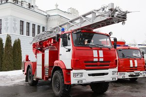 Fire truck - big red Russian fire fighting vehicle