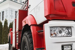 Headlights of Fire truck - big red Russian fire fighting vehicle