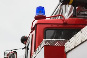 Flashing lights in Fire truck - big red Russian fire fighting vehicle