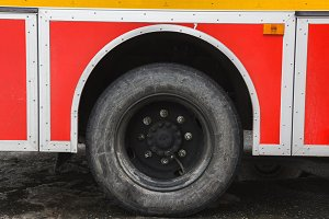 Wheel in Fire truck - big red Russian fire fighting vehicle