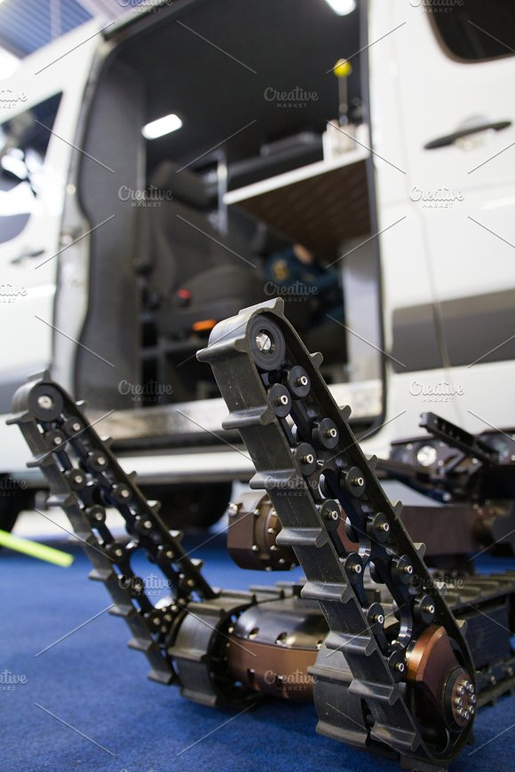 Military robot for discovery and searching on the remote control - moves the manipulators in Graphics