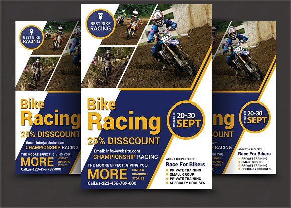 bike racing flyer template flyer templates creative market