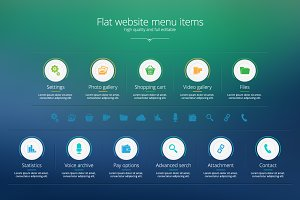 Flat website menu items