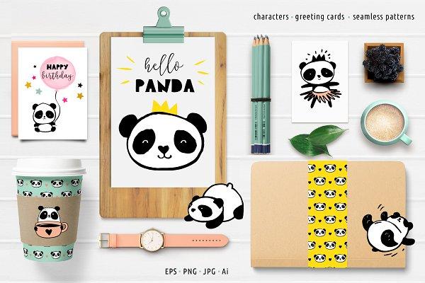 Panda bear design collection