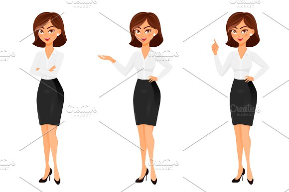 Business Woman In Different Poses