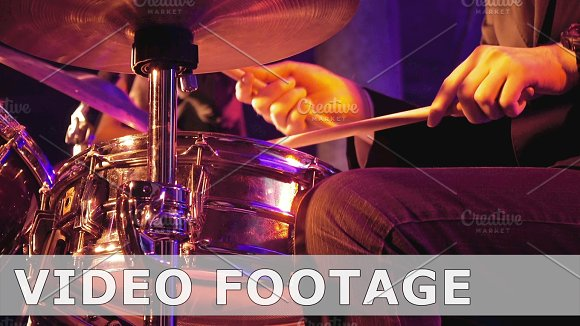 Drummer Plays On Drum Set And Cymbal