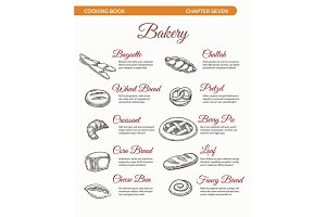 Bakery cooking book page with bread