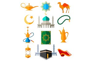 Muslim arabic colorful icons