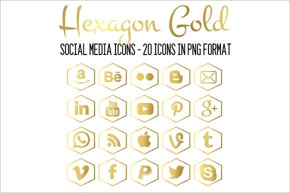 Social Media Icons Hexagon Gold