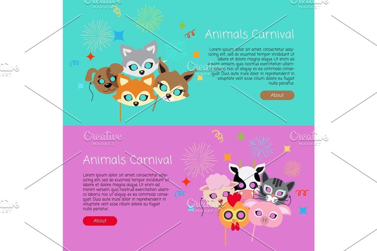 5c6790e7f Animals Carnival. Collection of Face Masks for Kids ~ Illustrations ...