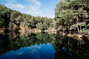 Reflections on calm lake