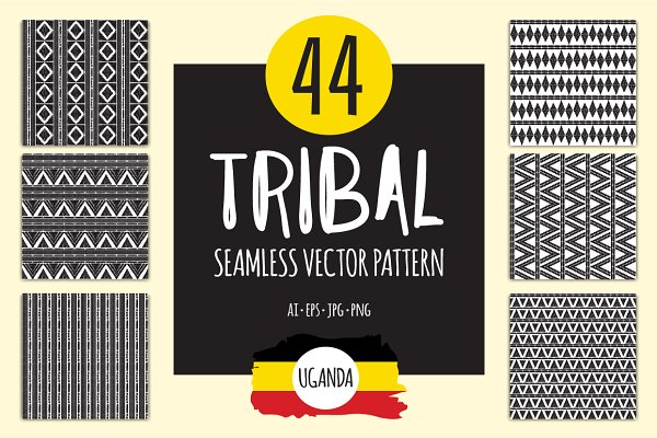 44 African tribal patterns seamless