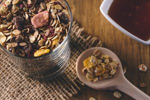 Granola, muesli breakfast