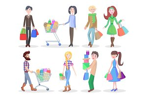 Shopping People Flat Vector Characters Set