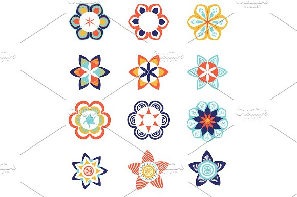 Set Of Geometric Colorful Logo