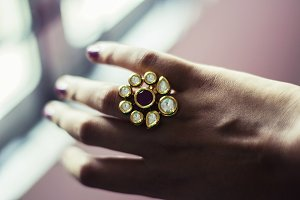 Large Kundan Ring - Indian Jewelry