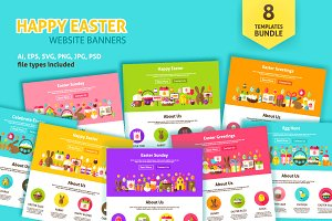 Happy Easter Web Banners