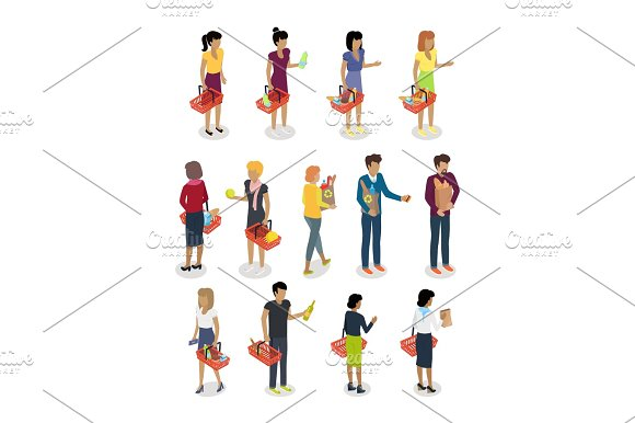Shopping People Isometric Characters Vector Set