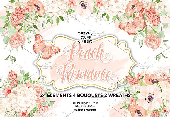 Watercolor Peach Romance Design