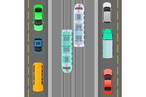 City Traffic on Top View Flat Vector Concept