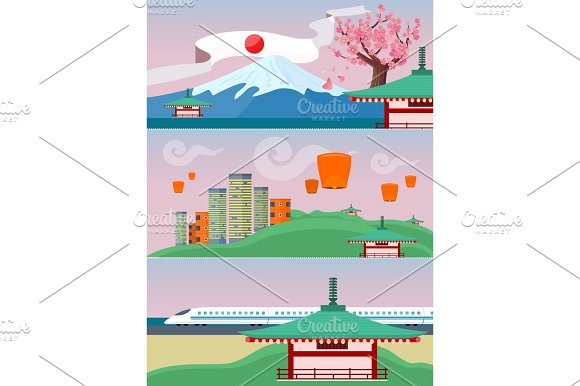 Japan Travelling Banner Japanese Landmarks