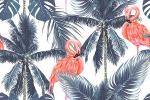Palm leaves,trees,flamingos pattern