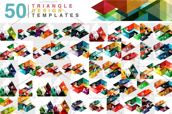 Mega Collection Of 50 Color Transparent Triangle Abstract Backgrounds