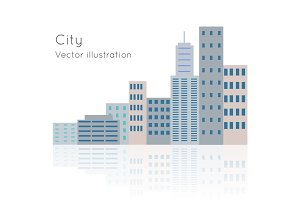 Big City Vector Illustration on White Backgrpund.