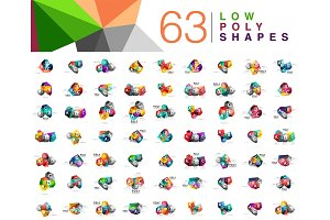 Mega collection of 63 triangle low poly design templates isolated on white