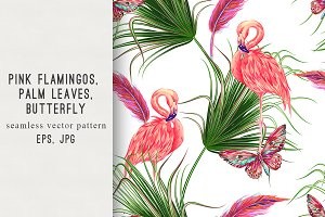 Flamingos,tropical leaves pattern