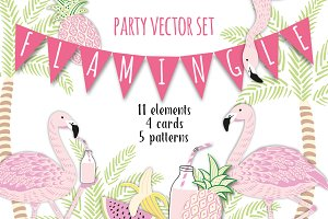 Flamingle. Party vector set
