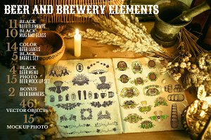Bundle of beer and brewery elements