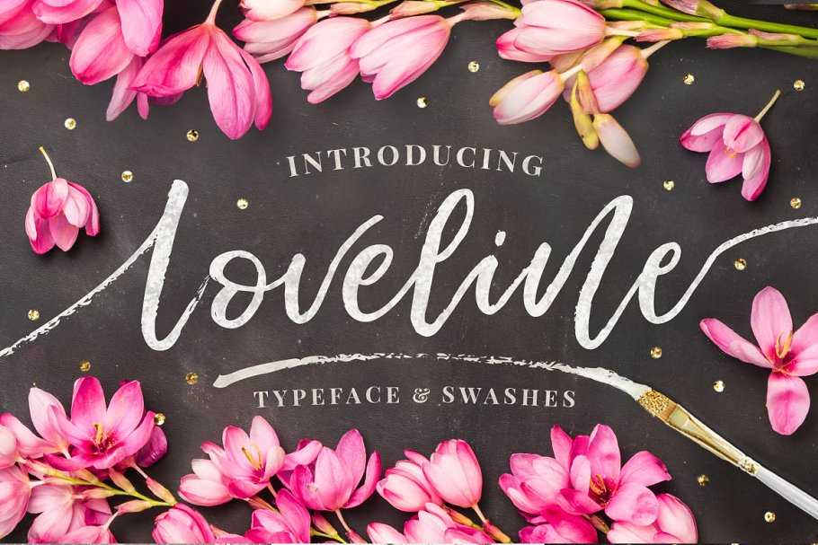 a3e7bb18fec4 Loveline Brush Script + Swashes ~ Script Fonts ~ Creative Market