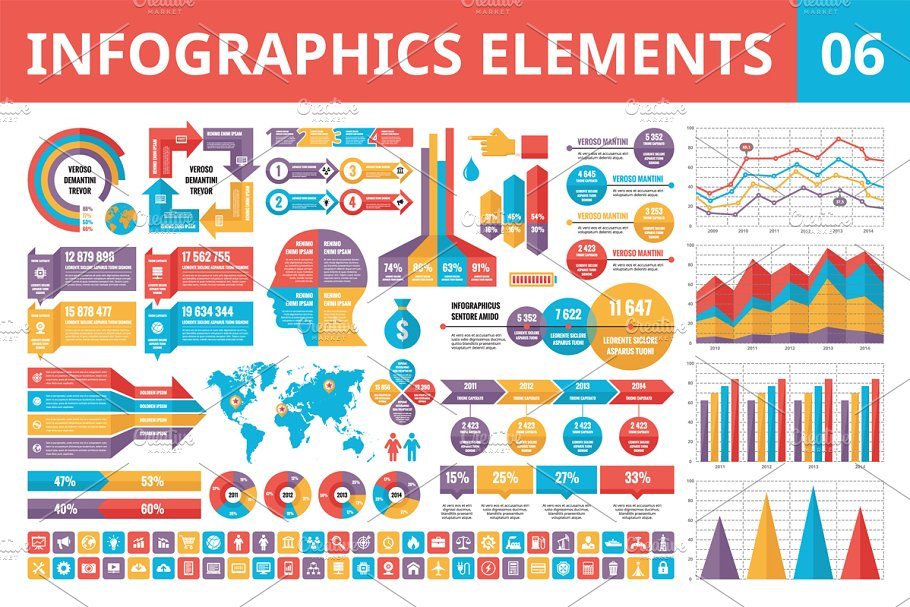 Infographics Elements in Flat Style in Presentation Templates - product preview 8