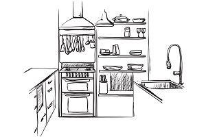 Kitchen interior. Furniture sketch