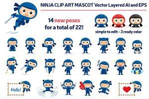 Ninja Vector Mascot Extended Pack